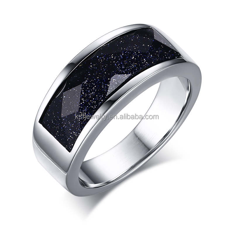 New Designs Stainless Steel 316l Ring With Bule Gravel Stone