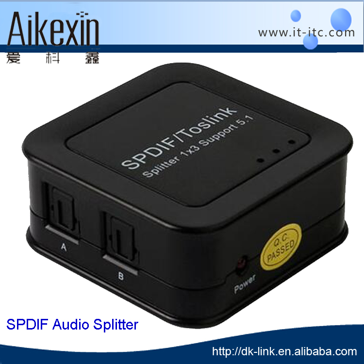 3 Way Powered SPDIF Toslink Digital Optical Audio Splitter 1 IN 3 OUT DTS