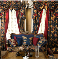 wholesale ready made linen jacquard valance curtain fabric modern luxury jacquard blackout curtain bedroom living room