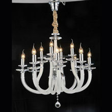Classical High Quality White Glass Arm Chandelier with 12 Lamps Crystal Lighting