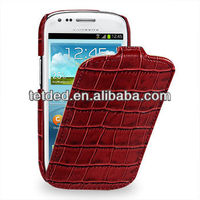 OEM Premium Leather Case for Samsung Galaxy S3/SIII Mini I8190 -- Troyes (Wild: Red Duo Croc)