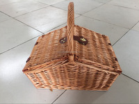 mountain shape wichker picnic basket with handle and leather connect