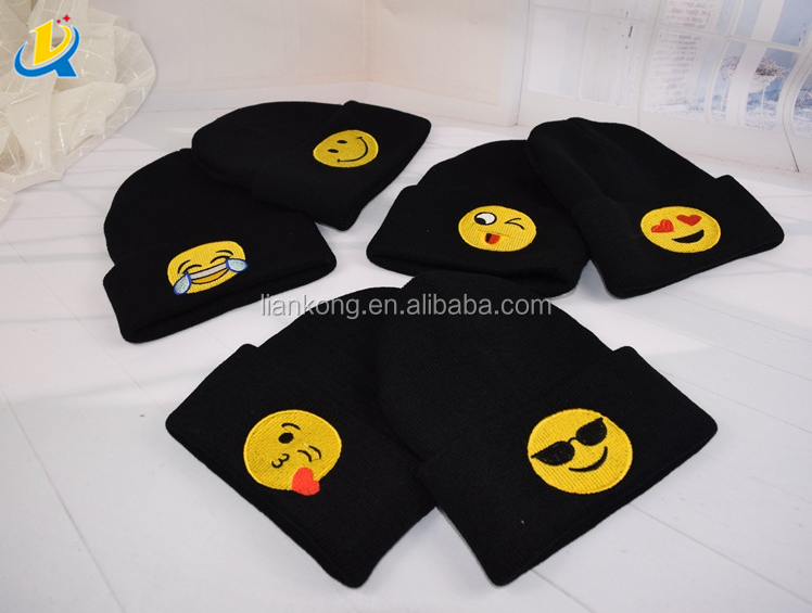 high quality children knit hat black cute baby beanie hat