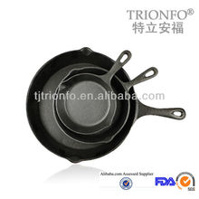 TRIONFO pre-seasoned cast iron frying pan with single handle