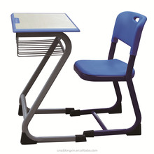 New design single plastic school desk and chair set, school furniture HK05+KZ99