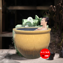 outdoor round spa soaking tub