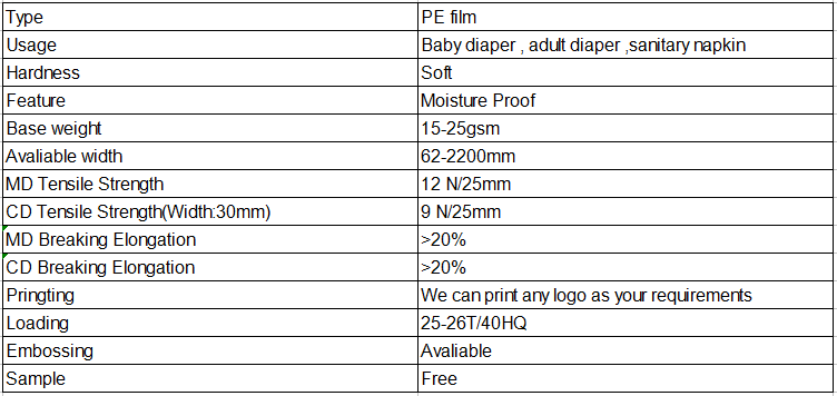 Guaranteed quality Non-toxic polyethylene film for diapers maker