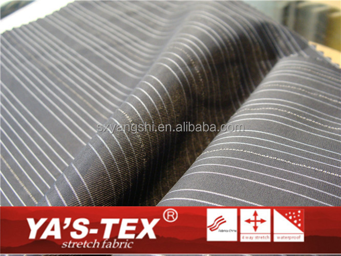 100% polyester black base white stripe wash and wear 4 way stretch shirt fabric