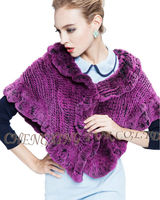 CX-B-128A 2016 Newest Ruffled Women Winter Real Rex Rabbit Fur Knitted Shawl And Stole