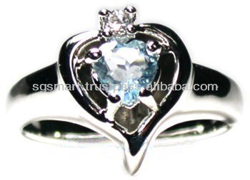 Silver 925 Gemstone Blue Topaz Ring Jewelry Wholesale Factory in Thailand..!!