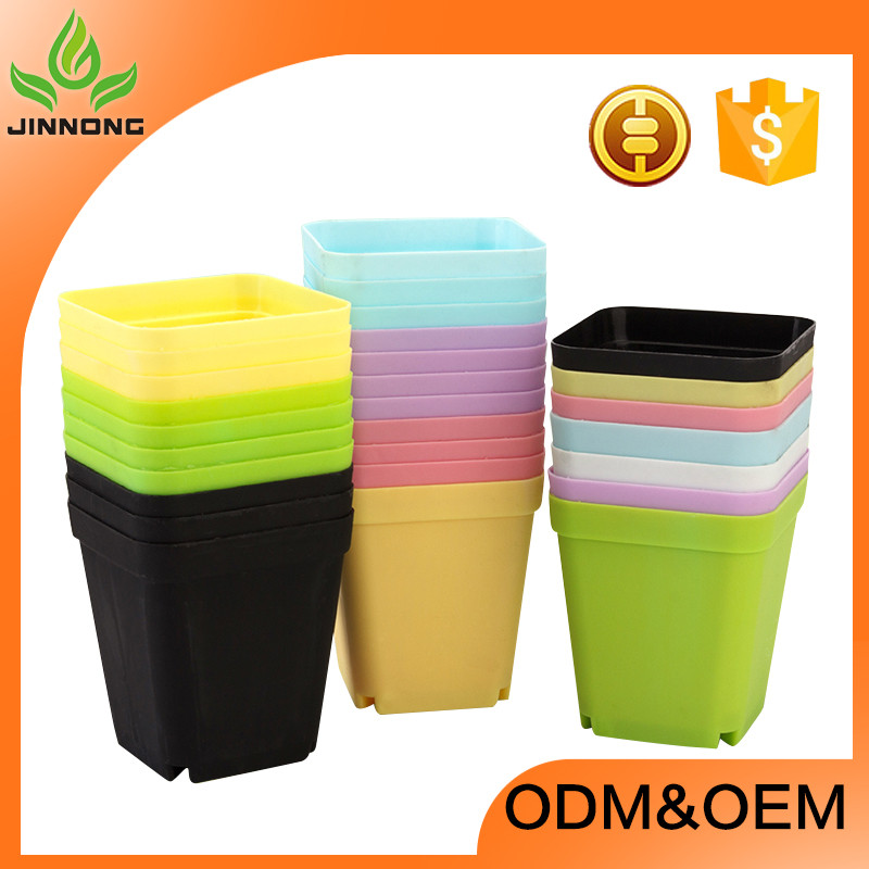 2016 hot sale jinnong small square colorful plastic plant flower gardening pots