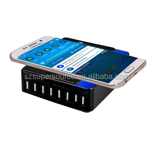 Qi wireless usb 60W 12A 8 port charging station for restaurant