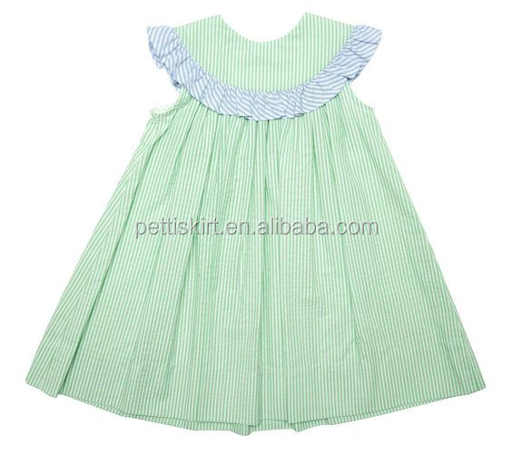 Girls Clothes Green Seersucker Smocked Dress Children Summer Dress