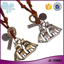 Foreign trade best wishes zinc alloy sailing pendant leather jewelry necklace