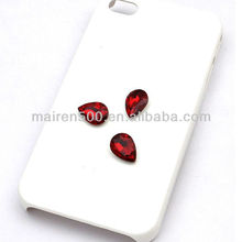 mobile phone case accessories 14X10mm Teardrop red rhinestone DIY decoration