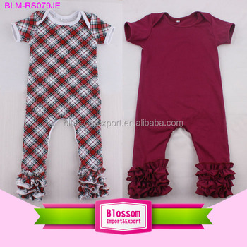 Plaid fabric lap shoulder short sleeve baby romper ruffle icing leg toddler plaid romper