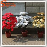 Latest design made in cheap artificial poinsettia flower and good quality cheap plastic flower with pots wholesale