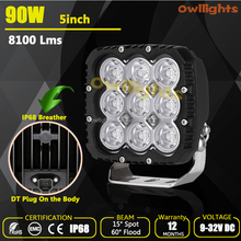 Auto Accessories 5inch 90w Square LED Work Light, Auto Driving Light