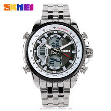 SKMEI hot sale Men business double time analog digital stainless steel watches with alloy case and lcd display
