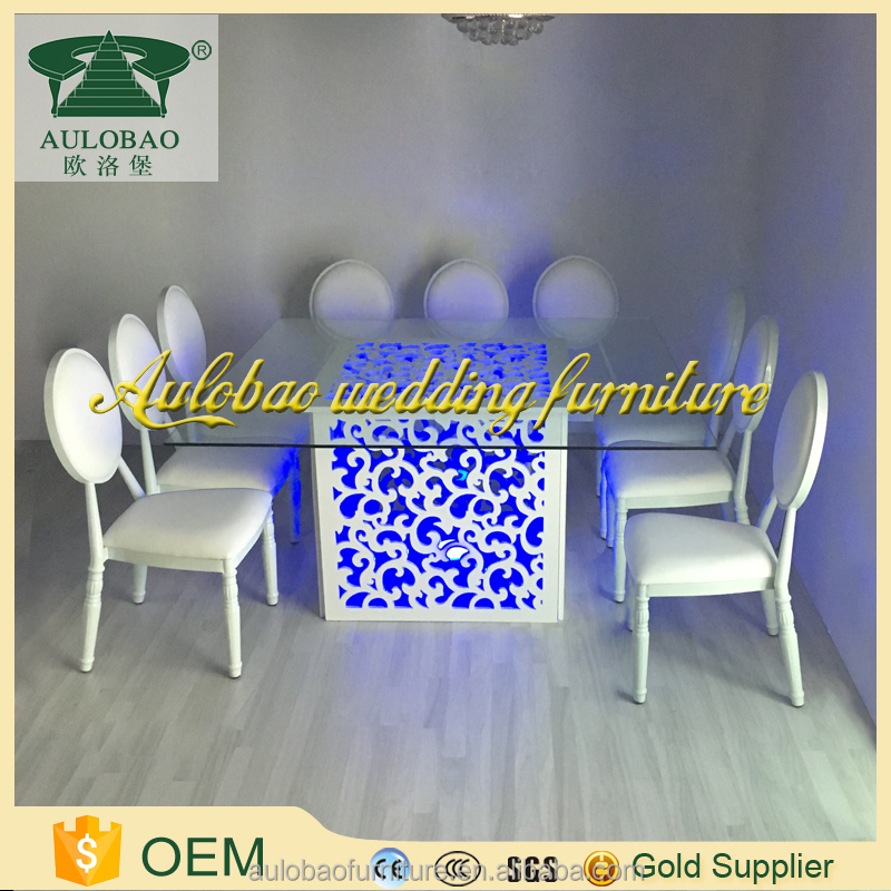 Colourful style led furniture glass top use wood folding table for sale