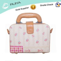 Fashion Pink Flower Linen with Lace Pattern Leather Briefcase Bag