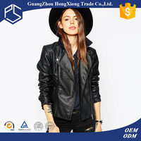 Guangzhou Hongxiong OEM Design Your Own Warm Zipper Front Side Pockets Wide Neck Fitted Black Custom Lady Leather Jacket
