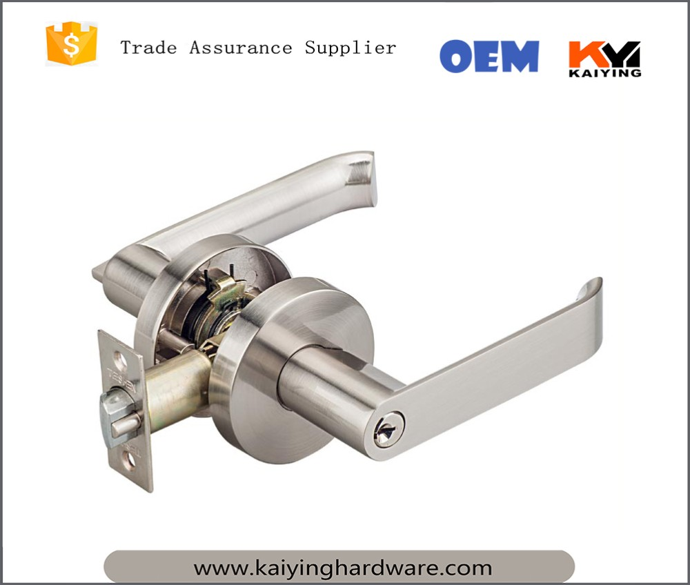 Entrance Lever Door Handle And Lock For Main And Bedroom Door,Satin Stainless Steel US32D,Backset Latch 60mm And 70mm