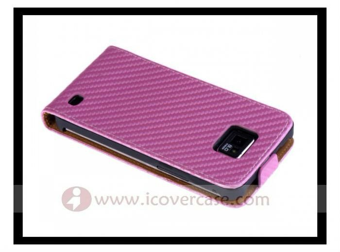 carbon fiber leather Flip case for Samsung galaxy s2 i9100 cover