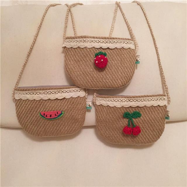 S31893W Korea straw bags 2016 Cute kids girls wild accessories summer crochet children messenger bags
