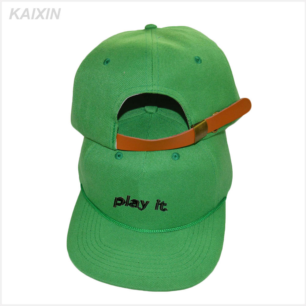 custom made 3d embroidery 5 panel camper hat leather strapback 5 panel cap flat brim wholesale hat with metal button