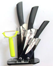 Ceramic kitchen knife set with acrylic stand