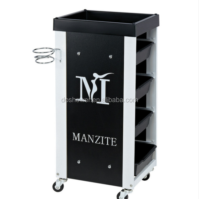 Black color plastic material salon trolleys hair hairdresser for salon pedicure trolley