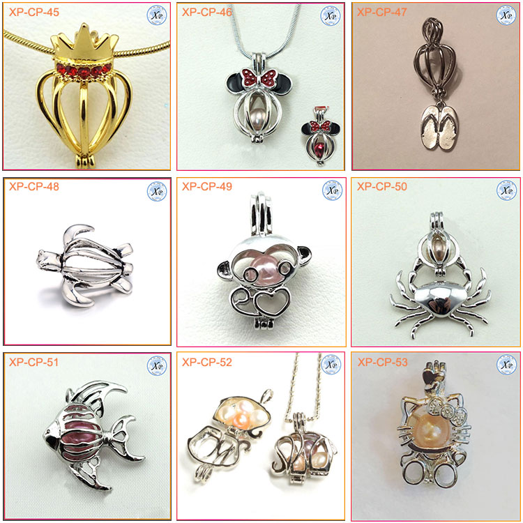 XB-CP-87 Wholesale Flamingo Pearl Cage Charms