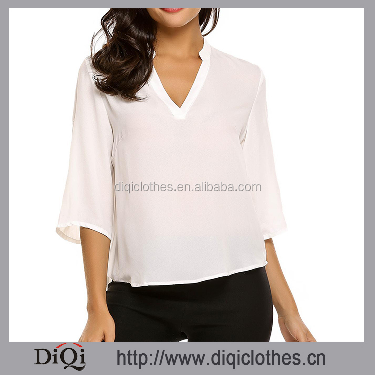 Ladies Back Button Designs White V-Neck Half Sleeve Asymmetric Hem Chiffon Blouse
