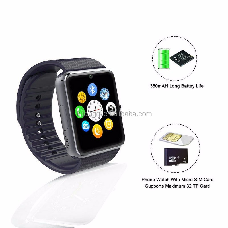 GT08Bluetooth Smart Watch Reloj Inteligente SIM Wrist Wear Smartphones For Iphone Android iPhone 6/puls/5S S7 Samsung S4 Note 3
