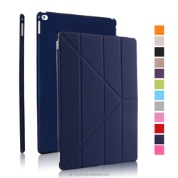 New Arrival Fashion 3 Stands Folded PU Smart Front Flip Cover Stand Hard Back Case for iPad Pro