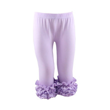 2018 spring kids cute baby pants wholesale lavender icing capris ruffle legging girl