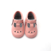 2017 factory price peach color t-bar baby baba soft sole leather shoes