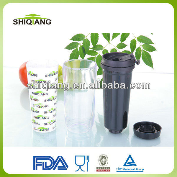 350ml Double wall plastic diy travel mug with inserted paper card