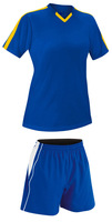 Blue and Yellow Color Soccer Women Uniforms