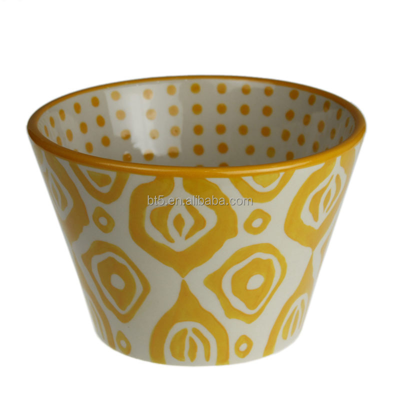 "6""yellow color chinese hand-printed large ceramic soup bowls"