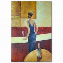 Wholesale handmade abstract nudy lady in bar sex photo oil painting wall decor