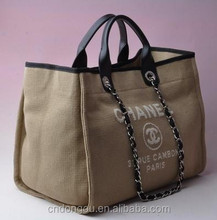 Wholesale fashion natural burlap nylon foldable handbag jute shopping bag