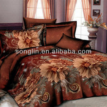 100% POLYESTER IMITATED REACTIVE PRINTING FLOWER DARK COFFEE COLOR 3D BEDDING SETS