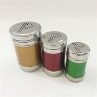 Eco-friendly 3pcs stainless steel colourful cruet set with rack