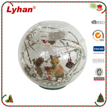 Lyhan 10cm dia table decoration LED clear glass candle holder with poly fox