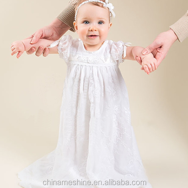 MS60211K pure white fashion lace long maxi 2016 baby christening dress for