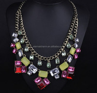 2015 Newest China supplier alloy with colors rhinestone necklace jewelry