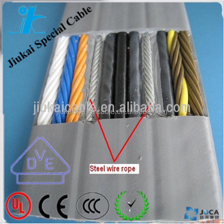 High quality VDE Certificated 24 Cores 0.75mm2 Flat Elevator Cable With Steel Wire