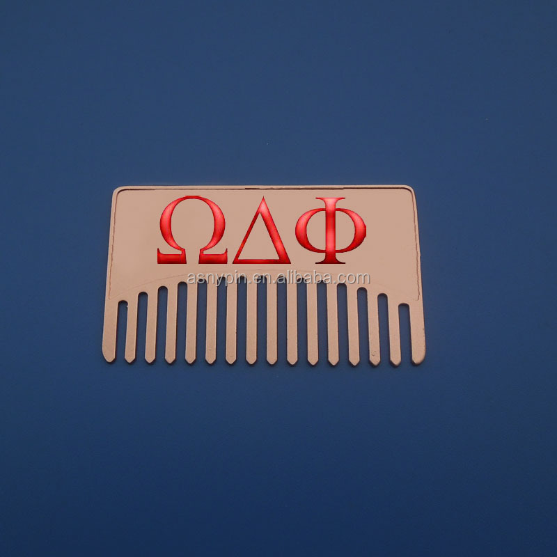 Omeg Delta Phi Double side Metal Hair Comb Wholesale
